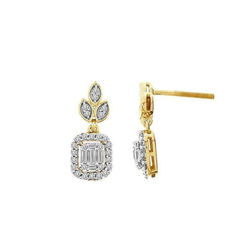 14K Gold Round Diamond and Baguette Earring 1 / 2CTW
