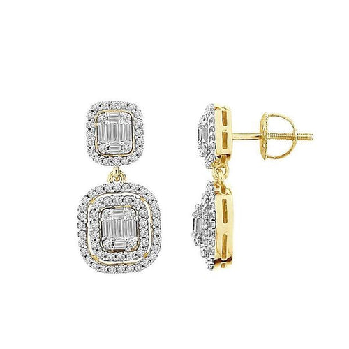 14K Gold Round Diamond and Baguette Earring 1.0CTW