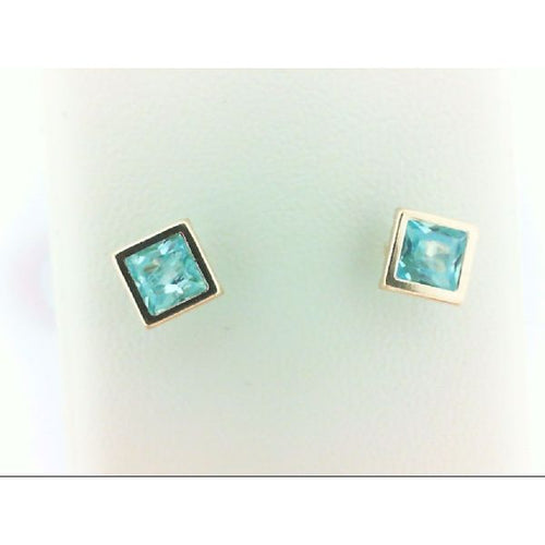 14K Yellow Gold Light Blue Stone Earring