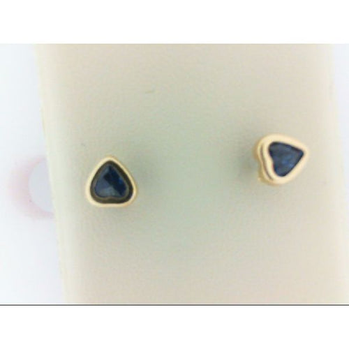 14K Yellow Gold Blue Stone Heart Earring