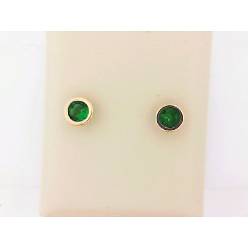 14K Yellow Gold Green Stone Earring