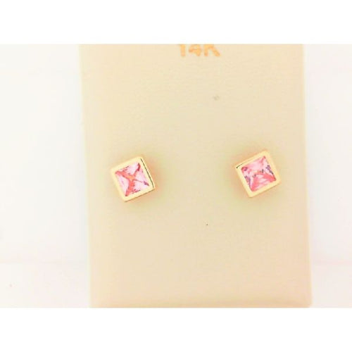 14K Yellow Gold Square Rose Stone Earring
