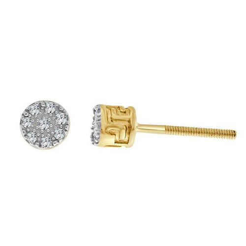 Round Micro 10K Gold Round Diamond Earring