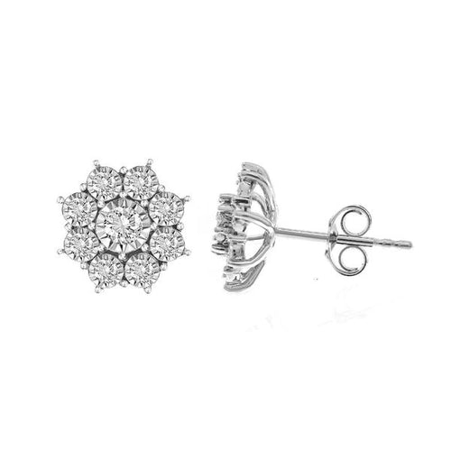10K White Gold Round Diamond Earring 1 / 3CTW