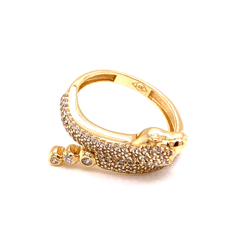 14K Yellow Gold Snake Style Ring with Cubic Zirconia Size 7 4.20 Grams