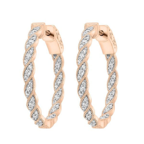 10K Rose Gold Round Diamond Earring 1 / 2CTW