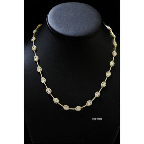 14K Gold Tennis Necklace 18.5 Inches 7MM