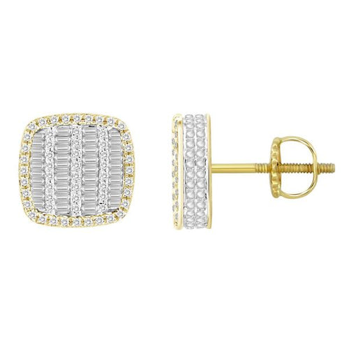 14K Gold Round Diamond and Baguette Earring 3 / 4CTW