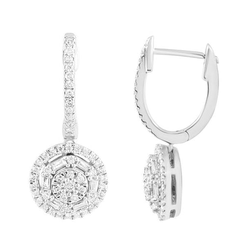 Earring 10K White Gold Round Diamonds and Baguette 1 / 2CTW