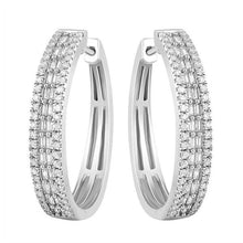 10K White Gold Round Diamond and Baguette Earring 1.0CTW