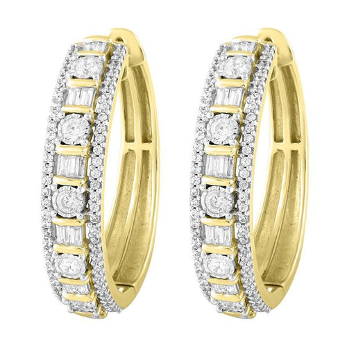 10K Gold Round Diamond and Baguette Earring 1.0CTW