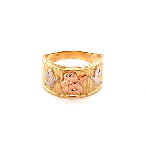 14K Tri-Color Ring With Angels Size 7.5