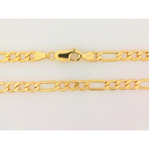 10K Yellow Gold Hollow Figaro Chain 18 Inches 4.5MM 5.28 Grams