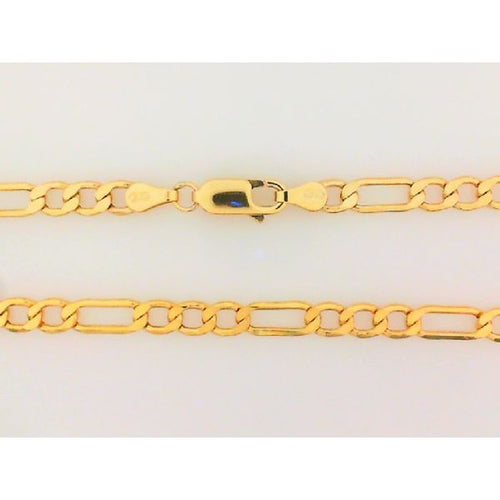 10K Yellow Gold Hollow Figaro Chain 24 Inches 4MM 7.46 Grams