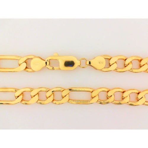 10K Yellow Gold Hollow Figaro Chain 24 Inches 7.5MM 23.17 Grams
