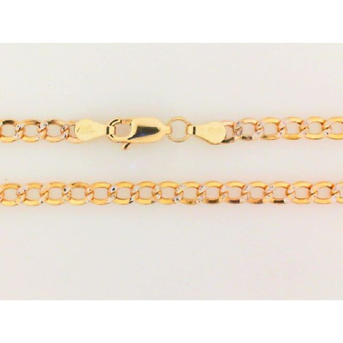 14K Two Tone Hollow Link Chain 3.5MM 22 Inch 5.13 Grams