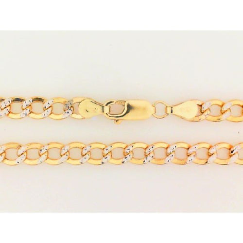 14K Two Tone Hollow Chain Italian Link 5MM 22 Inch 10.26 Grams