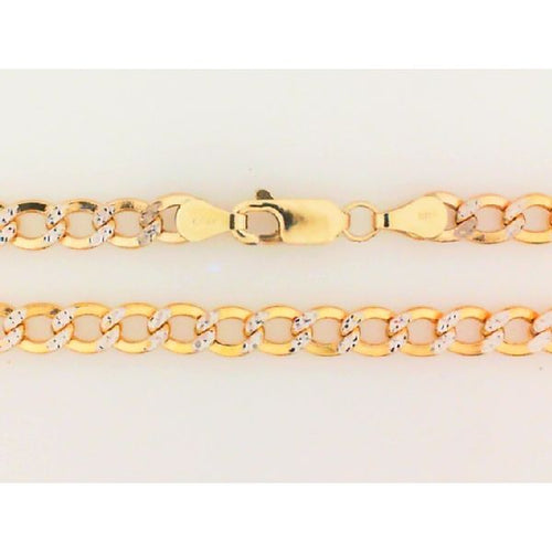 14K Two Tone Hollow Chain Italian Link 5MM 26 Inch 11.6 Grams