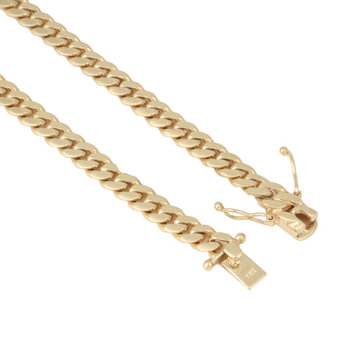 14K Yellow Gold Triple Clasp Cuban Link Chain 8Mm 24Inches 72.5Dwt