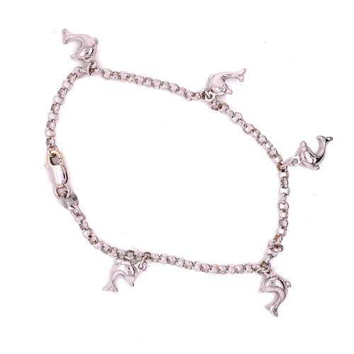 14K White Gold Rolo Bracelet with Dolphins 4.97 Grams