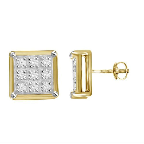 Square Diamond Silver Gold Round Earring