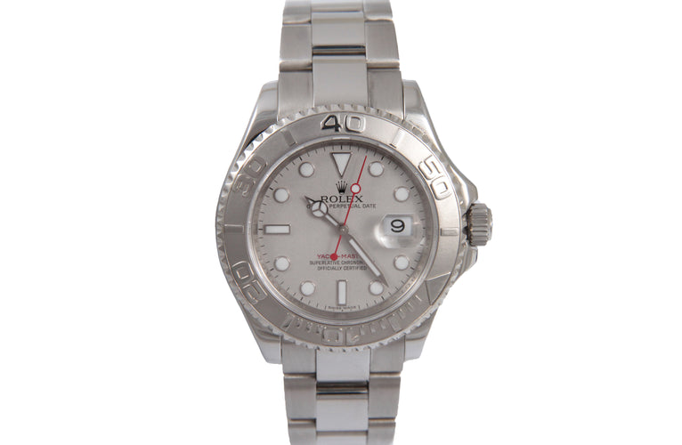 2008 Rolex Yachtmaster 40Mm Silver Dial Platinum Bezel 16622 397M0395 11 Links 93.6Dwt Box And Card