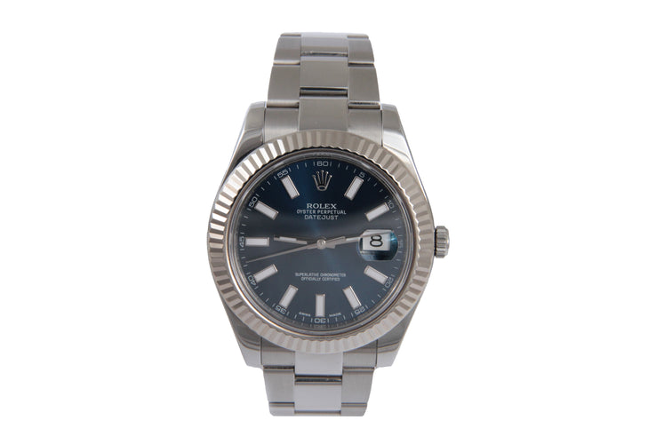 Rolex 2013 Datejust-II Blue Dial Ref # 116334 Serial # 095U3634 11 Links 95.5Dwt Comes With Card Box Book Manual