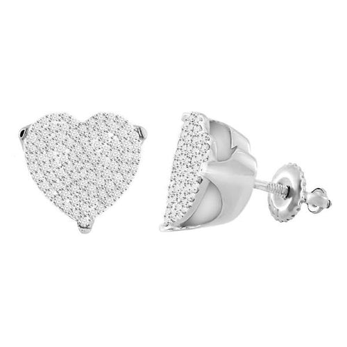 10K White Gold Round Diamond Earring 1 / 2CTW