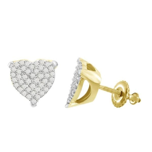 Gold Silver Heart Round Diamond Earring