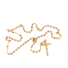 14K Three Colors Golden Rosary 4MM 18 Inches 12.90 Grams