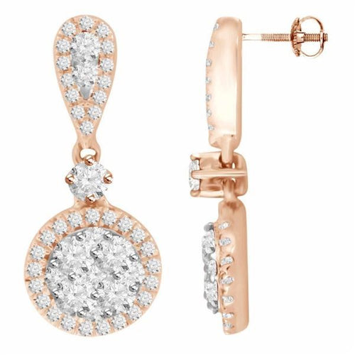 14K Rose Gold Round Diamond Earring 7 / 8CTW