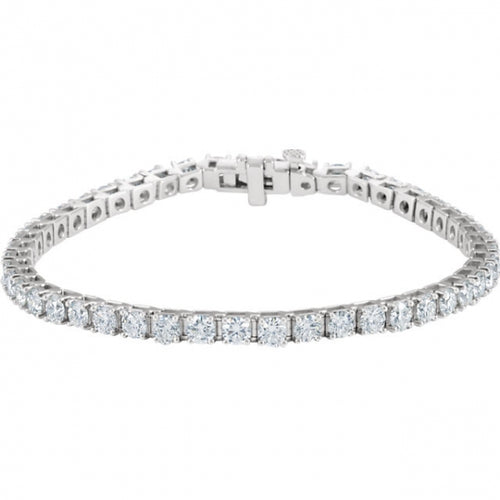 7CTW 18K White Gold Diamond Bracelet 7.25 Inches