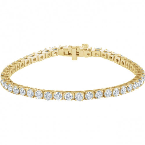 7CTW 18K Yellow Gold Diamond Bracelet 7.25 Inches