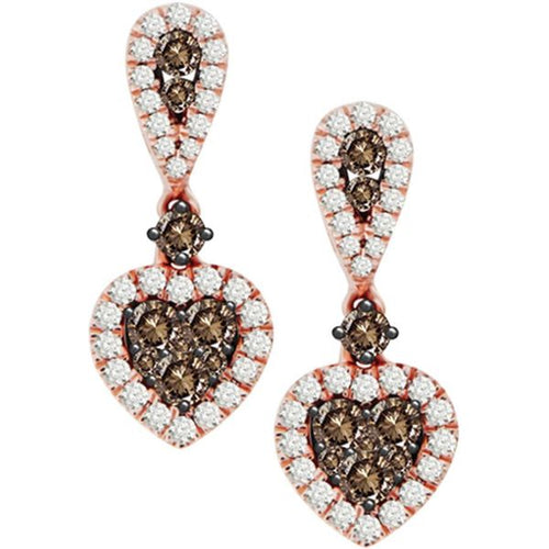 14K Rose Gold White Diamond and Chocolate 7 / 8CTW Earring