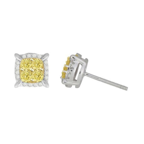 14K Yellow Gold and White Gold Earring White Diamond and Canary 1 / 2CTW