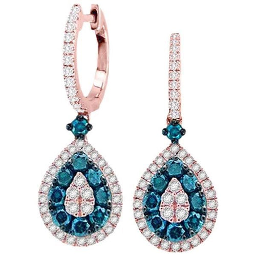 14K Rose Gold White and Blue Round Diamond Earring 1.10CTW
