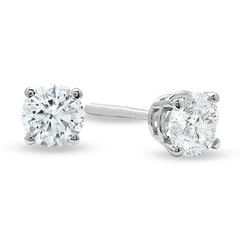 14K White Gold Solitaire Diamond Earring 1 / 4CTW
