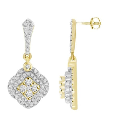 14K Gold Round Diamond Earring 7 / 8CTW
