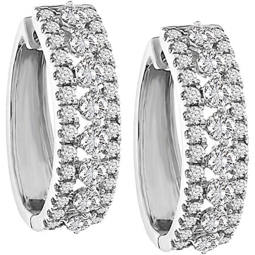 10K White Gold Round Diamond Earring 2.0CTW