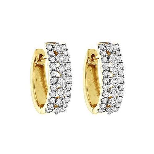 10K Gold Round Diamond Earring 1.0CTW