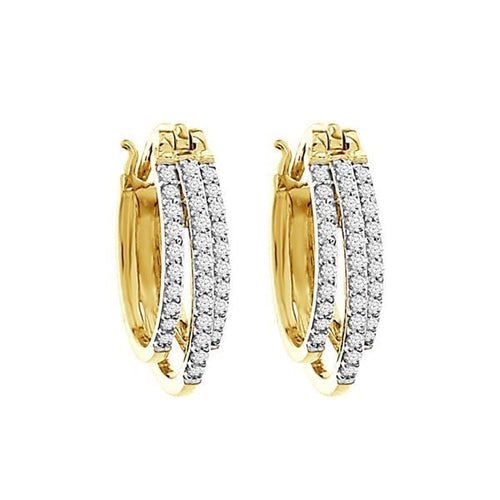10K Gold Round Diamond Earring 1 / 2CTW