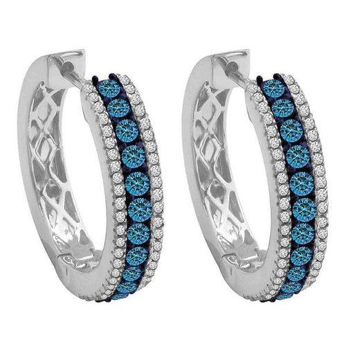 14K White Gold White and Blue Round Diamond Earring 1.0CTW