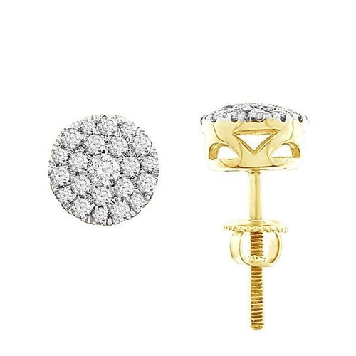 14K Gold Round Diamond Earring 1 / 2CTW