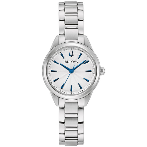 Bulova Sutton White Dial Watch with Blue Hands 28MM Stainless Steel Model 96L285