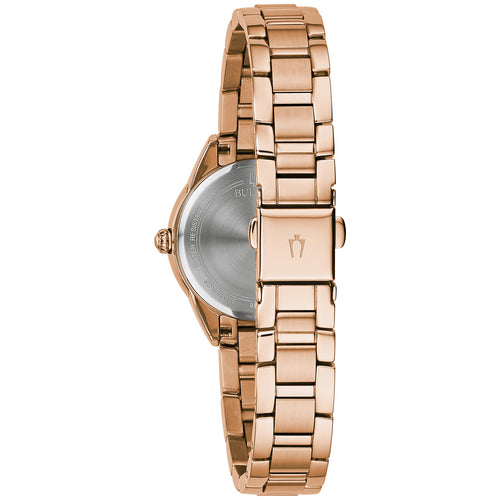 Bulova Sutton Rose Gold Watch with 3 Diamonds 28MM Stainless Steel Model 97P151