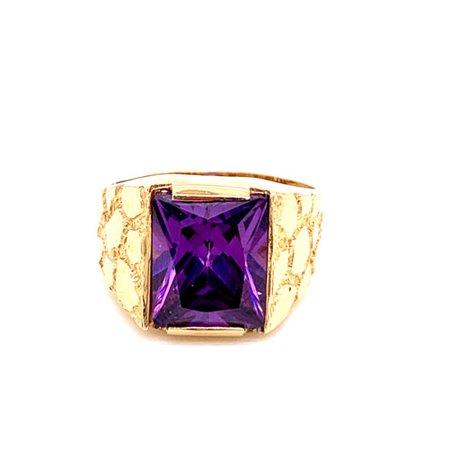 14K Yellow Gold Ring with Purple Stone Size 9.5 8.71 Grams