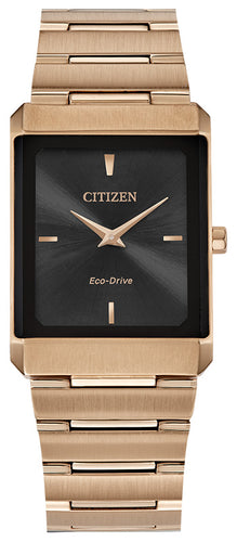 Citizen Stiletto Rose Gold Watch Stainless Steel Sapphire Crystal 28x38MM Model AR3103-58E