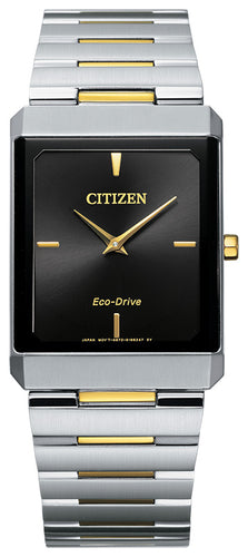 Citizen Stiletto Two Tone Yellow Gold Watch Stainless Steel Sapphire Crystal 28x38MM Model AR3104-55E