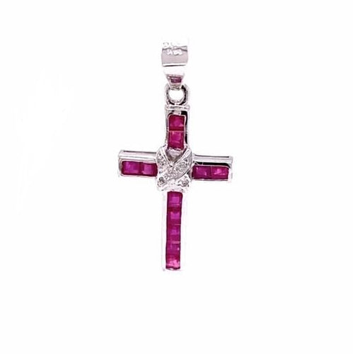 14K White Gold Cross Pendant with Red and Clear Stones