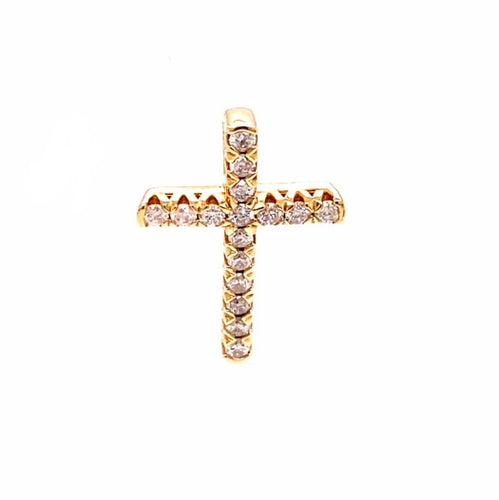 0.50Ctw 14K Yellow Gold Cross Pendant with Diamonds